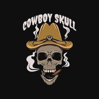 Ilustracja czaszki kowboja