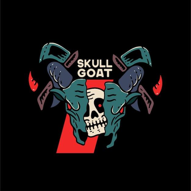 Ilustracja czaszki kozy na tshirtilustracja czaszki kozy na tshirt