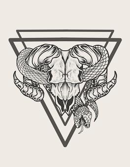 Ilustracja czaszki kozy w monochromatycznym stylu węża snake