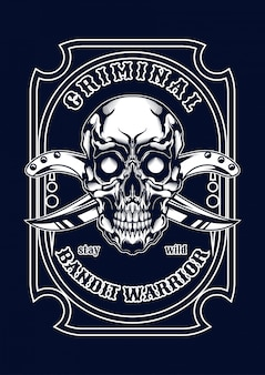 Ilustracja czaszki mafii na koszulkę