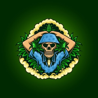 Ilustracja czaszki miłośnika marihuany