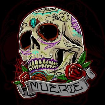 Ilustracja czaszki muertos