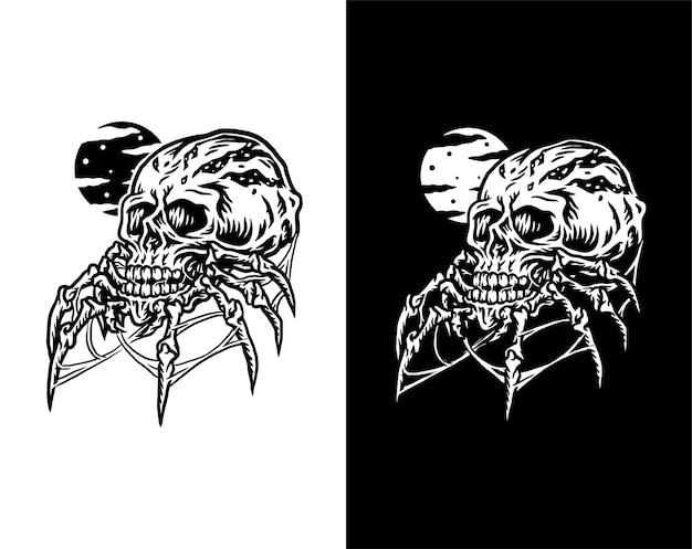 Ilustracja czaszki pająka, na białym tle na ciemnym i jasnym tle