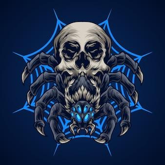 Ilustracja czaszki pająka