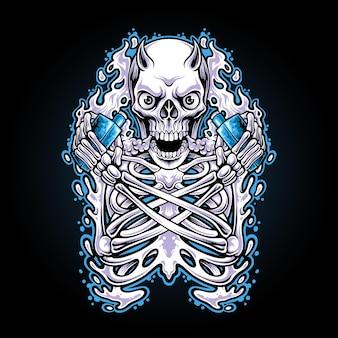 Ilustracja czaszki pary