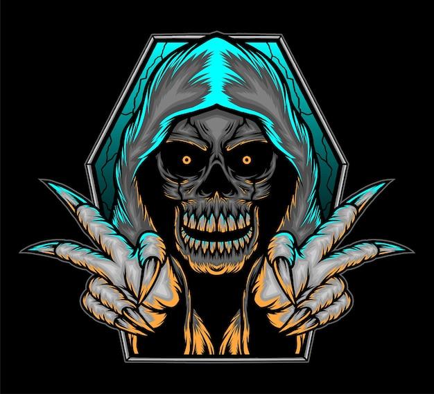Ilustracja czaszki ponurego żniwiarza. wektor premium