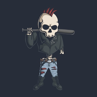 Ilustracja czaszki punk