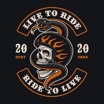 Ilustracja czaszki rowerzysty z wężem. jest to idealne rozwiązanie do logo, nadruków na koszulach