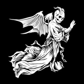 Ilustracja czaszki skrzydlaty anioł