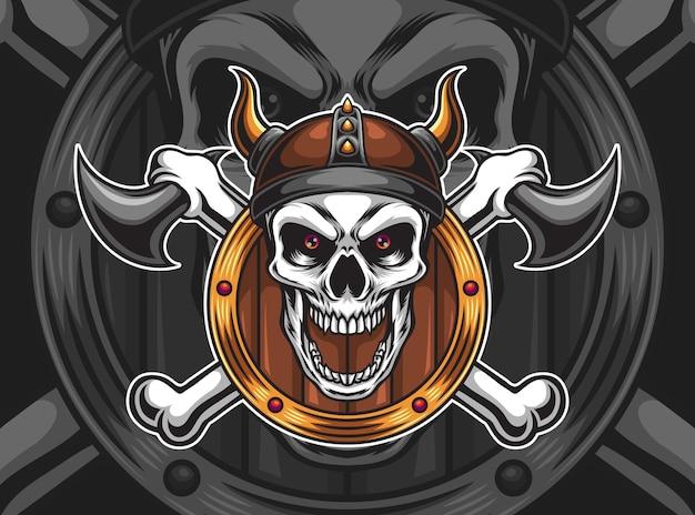 Ilustracja czaszki wikingów