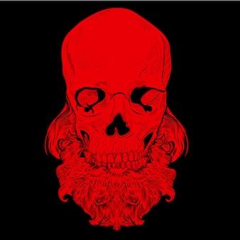 Ilustracja czaszki z brodą. styl grawerowania