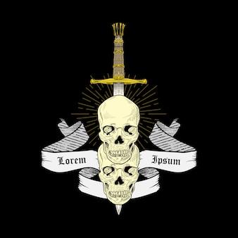 Ilustracja czaszki z mieczami i wstążką