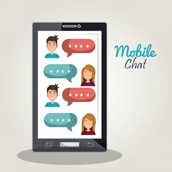Ilustracja czat mobilny