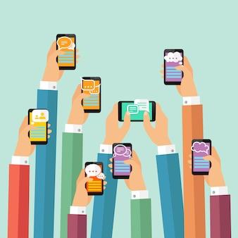 Ilustracja czatu mobilnego