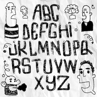 Ilustracja, czcionka napis na białym tle. alfabet tekstury. litery z logo.