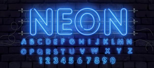 Ilustracja czcionki alfabetu neonowej rury