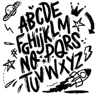 Ilustracja, czcionki czcionki na białym tle. alfabet tekstury.