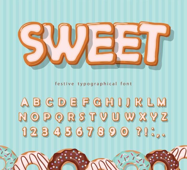 Ilustracja czcionki słodkie ciasteczka