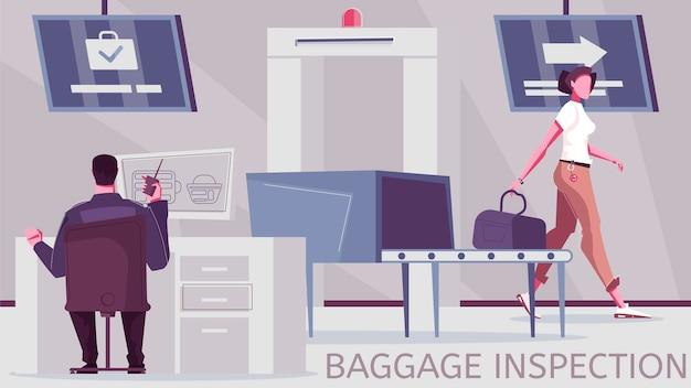 Ilustracja czeku bagażowego i punkt kontroli granicznej z wyposażeniem do kontroli bagażu