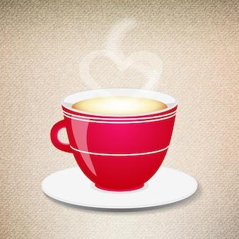 Ilustracja czerwonej filiżanki kawy na tle dżinsów