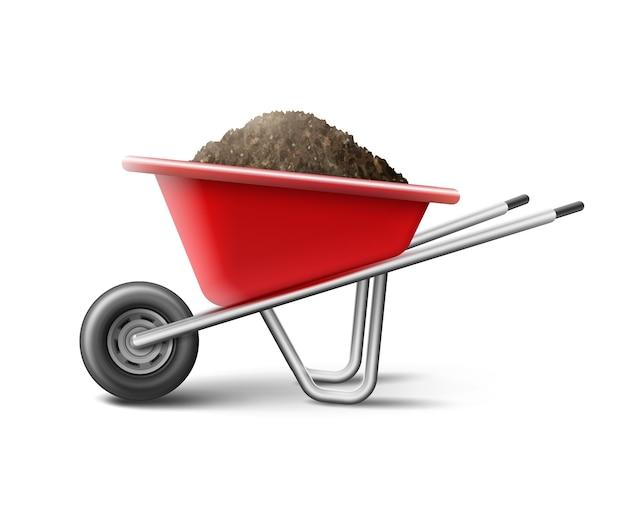 Ilustracja czerwonej taczki do ogrodnictwa pełnego gleby