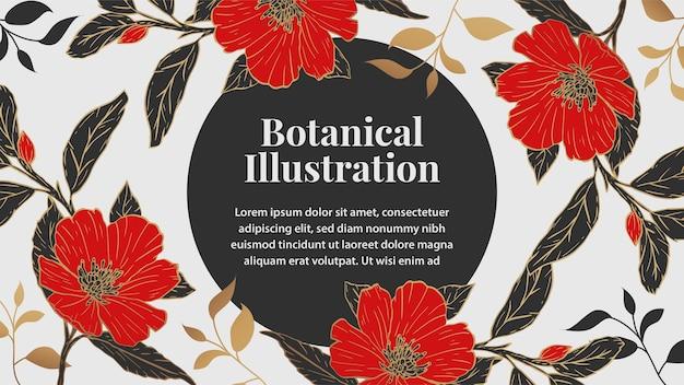 Ilustracja czerwony i czarny kwiat