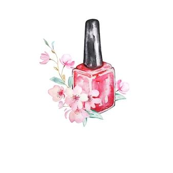Ilustracja czerwony lakier do paznokci z gałąź kwiat sakury