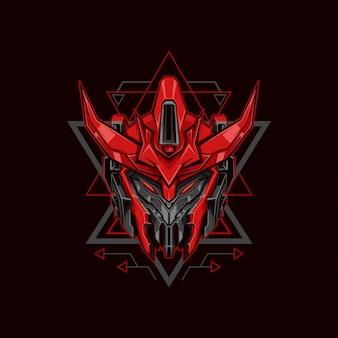Ilustracja czerwony robot rycerz