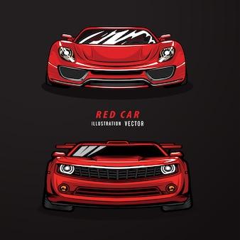 Ilustracja czerwony samochód sportowy.