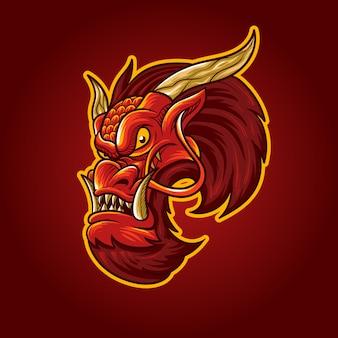 Ilustracja czerwony smok głowy