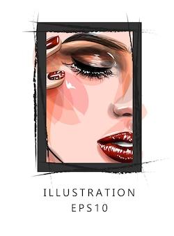Ilustracja. część twarzy pięknej dziewczyny. makijaż czerwone usta i długie rzęsy.