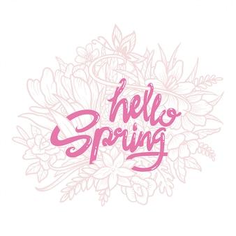 Ilustracja cześć wiosny typografii sztuki