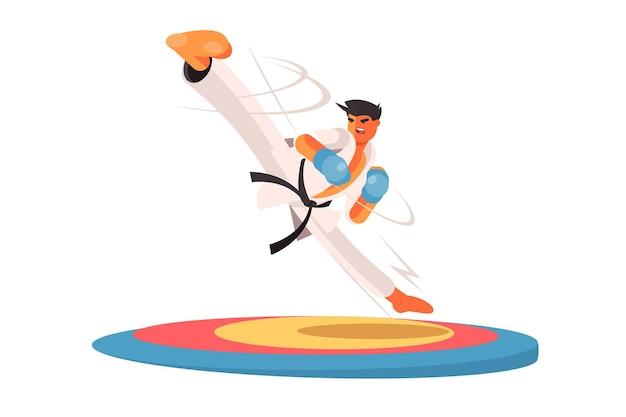 Ilustracja człowiek profesjonalny karate. facet w specjalnym, jednolitym stylu płaski.