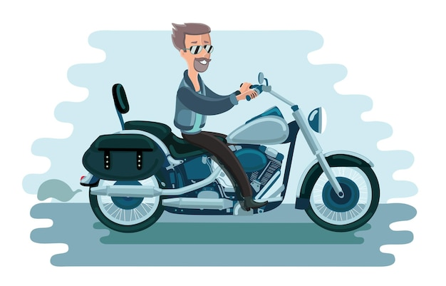 Ilustracja człowieka na motocyklu starej szkoły amerykańskiej