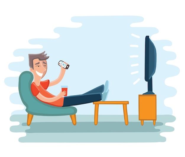 Ilustracja człowieka przed telewizorem na fotelu. telewizor i siedzenie na krześle, picie