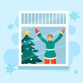 Ilustracja człowieka szczęście patrząc z okna