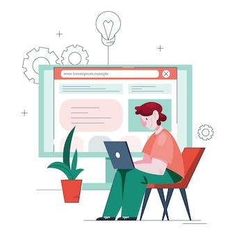 Ilustracja człowieka tworzenia witryny internetowej. proces tworzenia strony internetowej, kodowania, programowania, konstruowania interfejsu i tworzenia treści. mężczyzna posiadający komputer tworzy witrynę internetową.