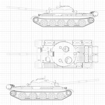 Ilustracja czołgu, maszyna wojskowa w liniach konturowych na papierze milimetrowym