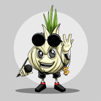Ilustracja czosnku w stylu hip hop