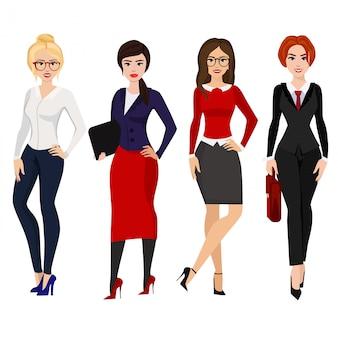 Ilustracja czterech eleganckich kobiet biznesu w różnych pozach na białym tle w stylu cartoon płaski.
