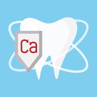 Ilustracja czytelnego zdrowego zęba koncepcja czyszczenia zębów