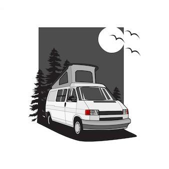 Ilustracja dachu samochodu kempingowego