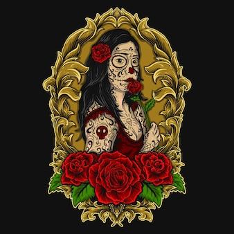 Ilustracja dama tatuaż czaszka cukru i róża grawerowanie ornament