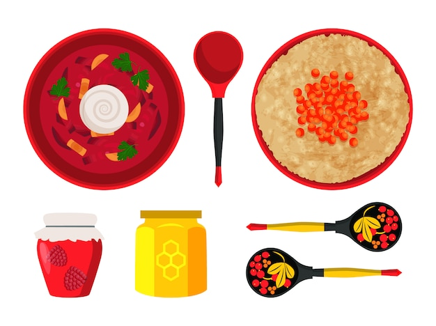 Ilustracja dania kuchni rosyjskiej