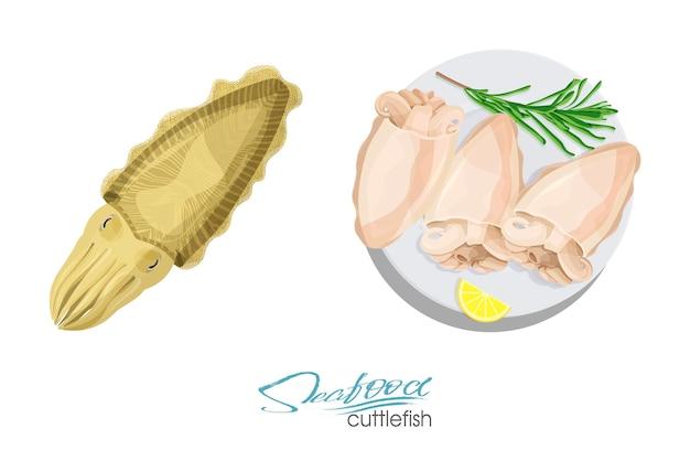 Ilustracja dania z mątwy z cytryną i rozmarynem na talerzu