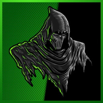 Ilustracja dark grim reaper z maską, dark hood na czarnym tle. do projektowania logo maskotki w nowoczesnej ilustracji. oddzielna warstwa i edytowalna.