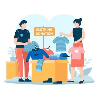 Ilustracja darowizny odzieży wyciągnąć rękę z ludźmi