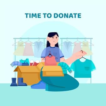 Ilustracja darowizny płaskiej odzieży