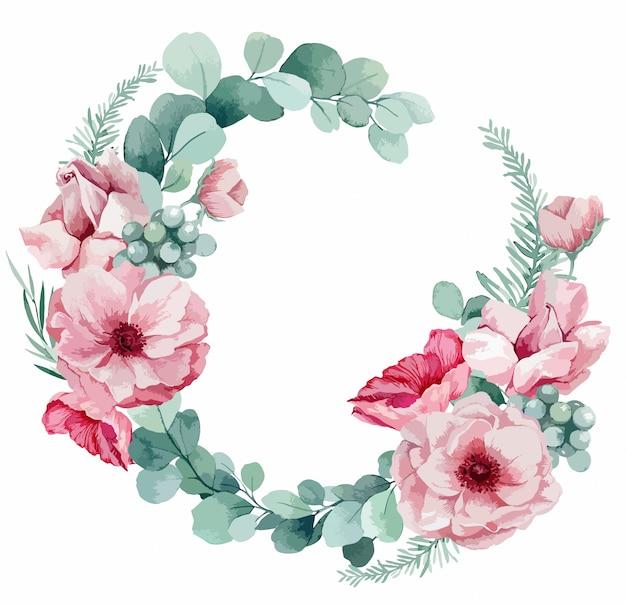 Ilustracja delikatnego wieńca na zaproszenie na ślub z eukaliptusa, różowe zawilce, liście palmowe i maki.