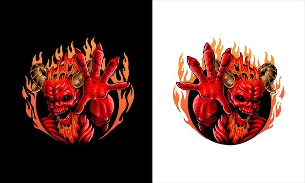Ilustracja demon czerwony ogień